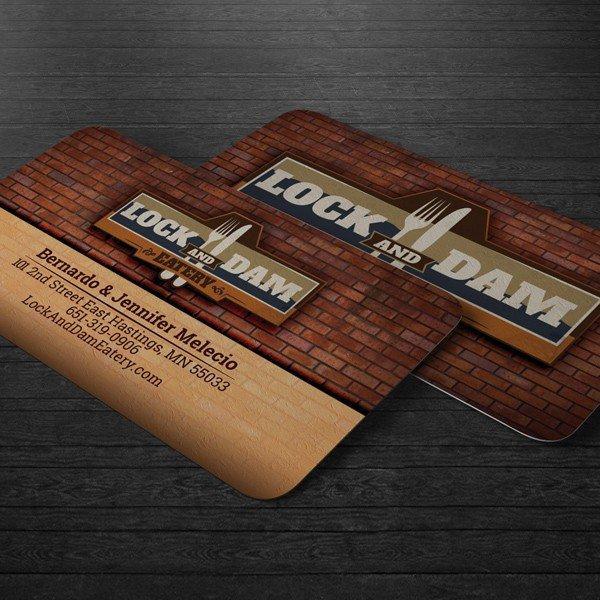 Commercially printed, business card design for a small business.