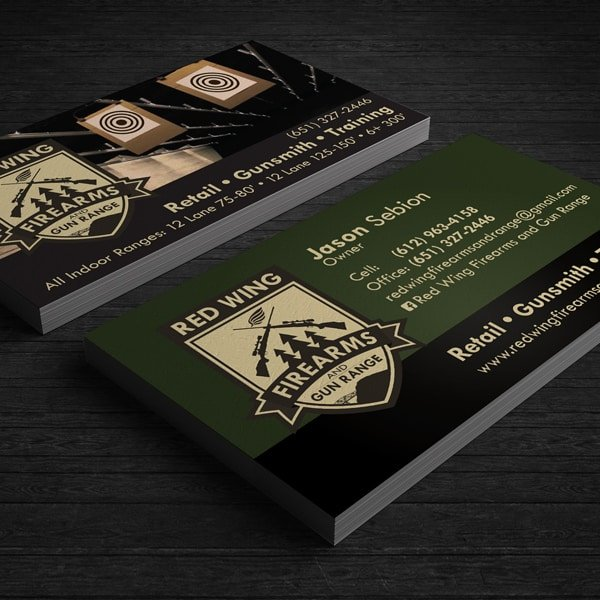 Red Wing Firearms and Gun Range, Business Cards, Red Wing, MN