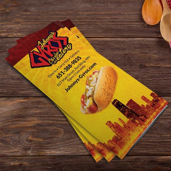 Commercial printed example of a small business restaurant menu.