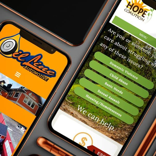 Several examples of responsive website designs shown on mobile phones.