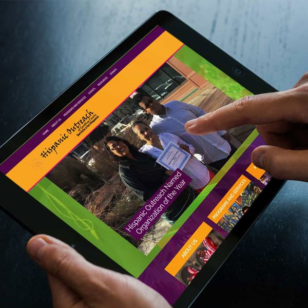 A local non-profit responsive website design shown on a tablet.