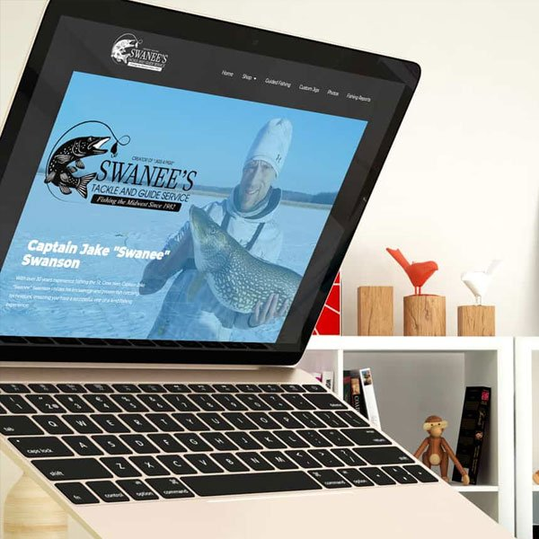 Laptop displaying a local small business web design for e-commerce.