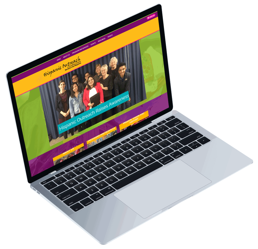 Responsive website design of a small non-profit organization shown on a laptop.