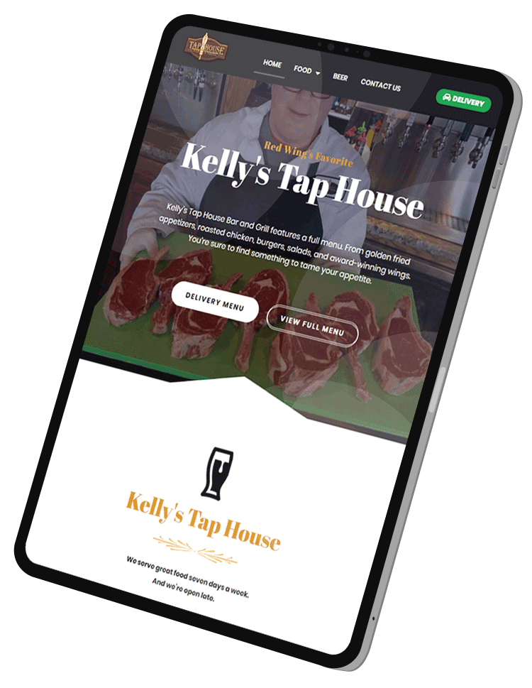 A tablet showing a responsive website design of a small business.